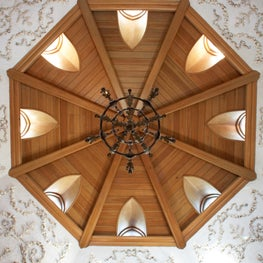 Guest House at Villa Marbella Cat Cay Bahamas shell encrusted frieze under an octagonal cypress beamed ceiling