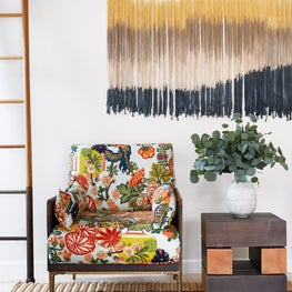 Elevated Bohemian Family Room with Mixed Patterns