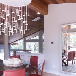 Portola Valley contemporary renovation. Dining room and bar.