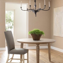 Athena Dining Table, New England Chair & Bronze Mask Chandelier