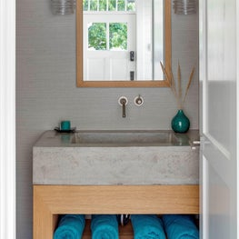 COASTAL POWDER ROOM WITH CUSTOM CONCRETE AND WIRE BRUSHED OAK SINK/VANITY