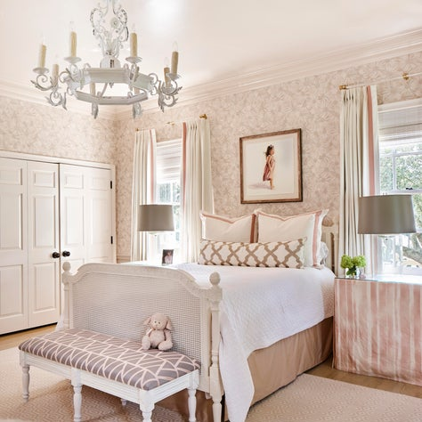 Girl's room with touches of pink and blush throughout
