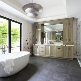 Open and Airy Master Bathroom with Bespoke Cabinets