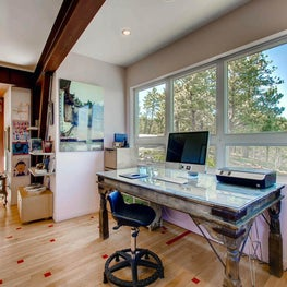 Boulder, Colorado Foothills Retreat - Home Office with antique desk and chair