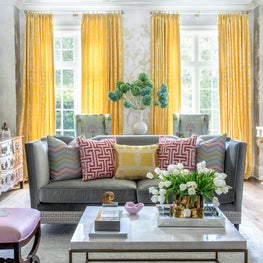 Yellow, Nicole's signature color, had to be used in this sun-lit living room