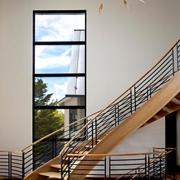 Modern Custom Staircase, Large Steel Window