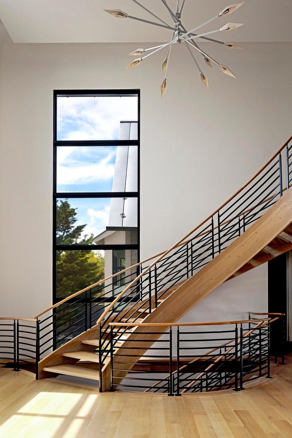 Modern Custom Staircase, Large Steel Window