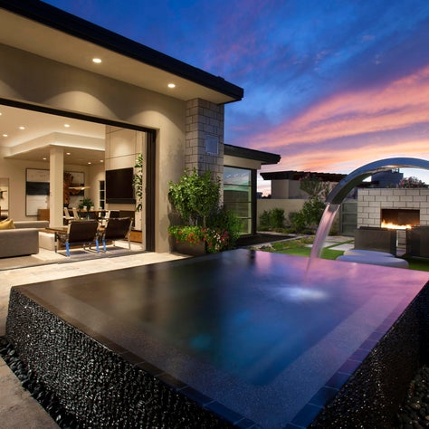 Water feature outside great room in Scottsdale home