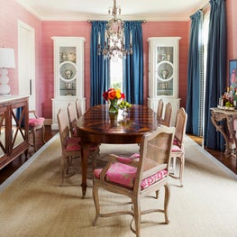 Houston, TX, Dining Room with Pink Wallcovering