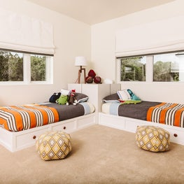 Children's room with pops of youthful color with a timeless rhythm.
