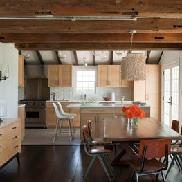 Hamptons Barn House Kitchen/Dining Room, wood beam ceilings, cerused oak cabinet