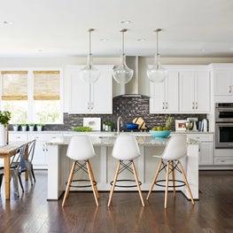 farmhouse industrial bar stools large kitchen island pendants backsplash wood