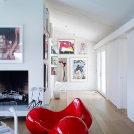 Eero Aarnio Tomato Chair in Modern Living Room - Hollywood Hills