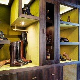 Detail for Custom Cabinetry, Internally Olive Velvet Lined, externally Leather Wrapped for a Fashion Boutique