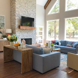 Lakehouse living room with fireplace