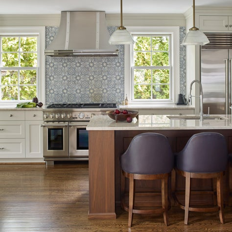 Gladwyne White Kitchen with Moroccan Tile and Plum Accents