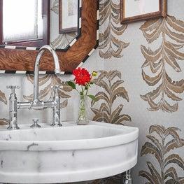 Wallpapered Powder Bath with Statement Mirror