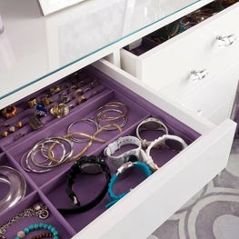 Jewelry Drawer Inserts in an Austin Dressing Room Island