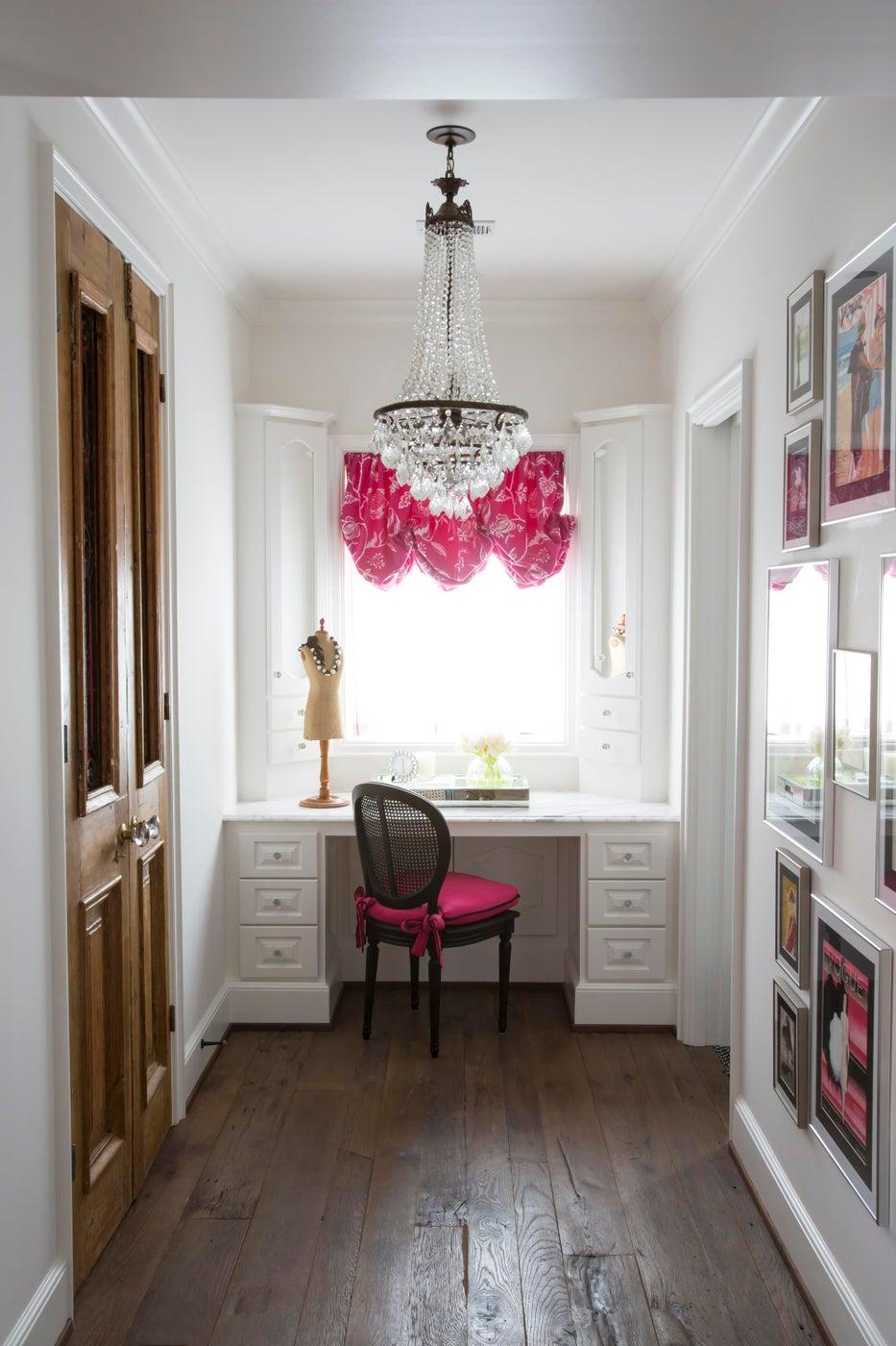 Girls vanity area inspired by Parisian fashion- reclaimed doors & bright fabrics