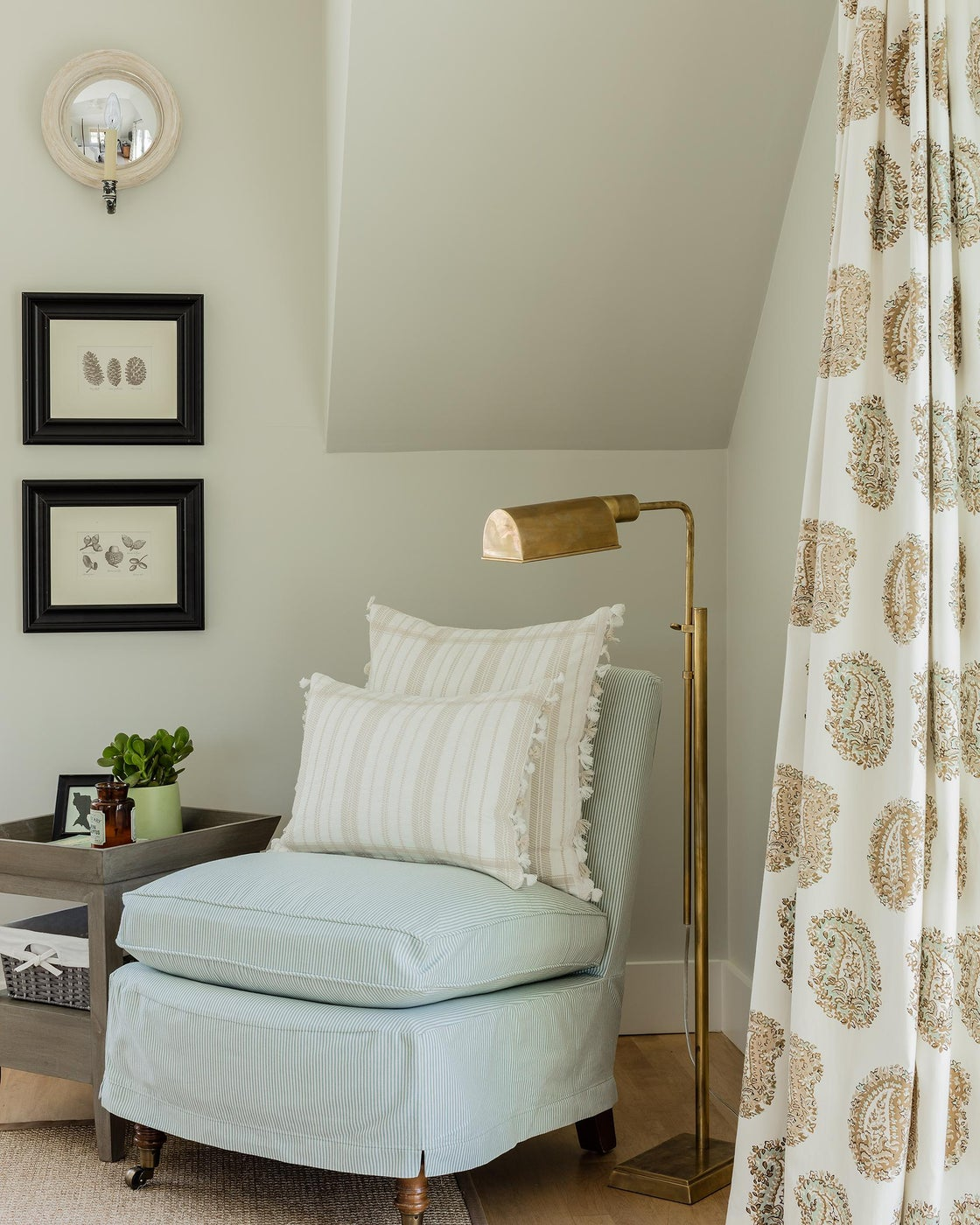 Schumacher Paisley Draperies spice up a quiet reading nook in a Master Suite