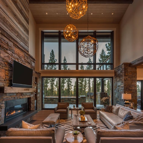 Textured Rustic Elegant Great Room with Custom Details and Mountain Views