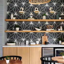Boutique Hotel Dining Area with graphic cement tile