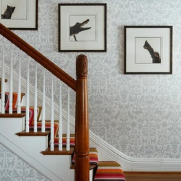 Judson Ave. Entry with Colorful Runner and Fun Wallpaper