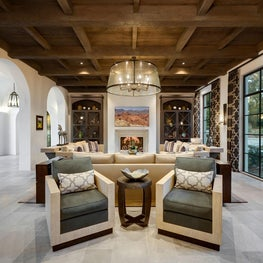 Spanish Colonial Equestrian Estate, custom iron chandelier and furnishings