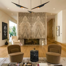 Book-Matched Marble Fireplace - Trousdale Estates