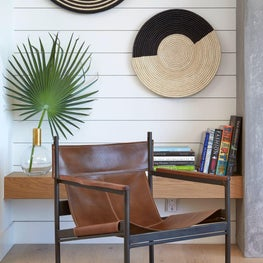 Corte Madera New Build, Family Room, Reading Nook, Organic Modern, Woven Accents, Leather Sling Chair