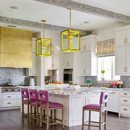 Mediterranean dwelling in Dallas, Kitchen incorporating vibrant pops of color