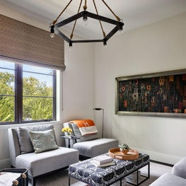Cream Walls, Living Room, Hermes Blanket, Stark Carpet, Circa Lighting, Grey Chairs, Ottoman - Glencoe Contemporary Project