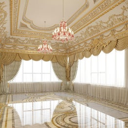 Gold Leaf accents complement the marble inlay flooring.