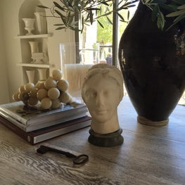 Oak Library table with marble grapes and bust