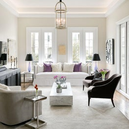 Clean lines and muted tones with a pop of color.