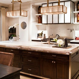 Kitchen with Open Shelving, Mid Century Light Fixtures