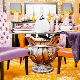 Contemporary Dining with Purple and Orange