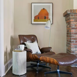 North End Boise family room nook with vintage Eames lounge chair and ottoman