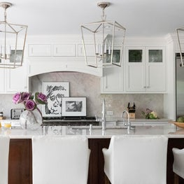 Kitchen with Polished Nickel Lanterns