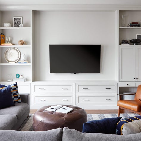 Modern Media Room, Built-in Bookcases