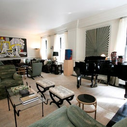 Living room of duplex New York apartment