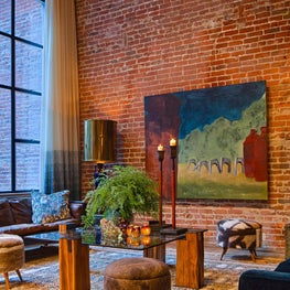 San Francisco Loft, Exposed Brick Living Room