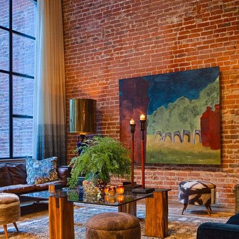 San Francisco Loft, Exposed Brick Living Room