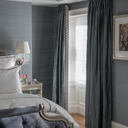 Master Bedroom with Upholstered Bed, Silk Curtains and Silk Walls
