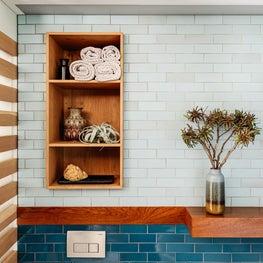 Master Bath with Teak Shelves