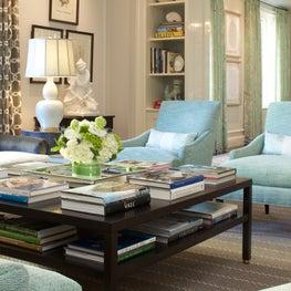 Park Avenue penthouse, Aqua living room with custom built in shelves