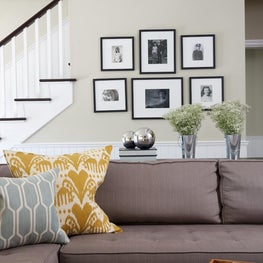 Detail of great room with custom u-shaped sectional sofa