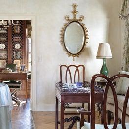 English country, herringbone floors,traditional mirror,chintz drapery ,green