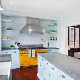 Transitional Kitchen with Yellow LaCanche Range & Robin's Egg Blue Cabinets