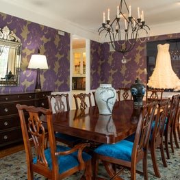 Dining Room with beautiful purple and gold wallpaper